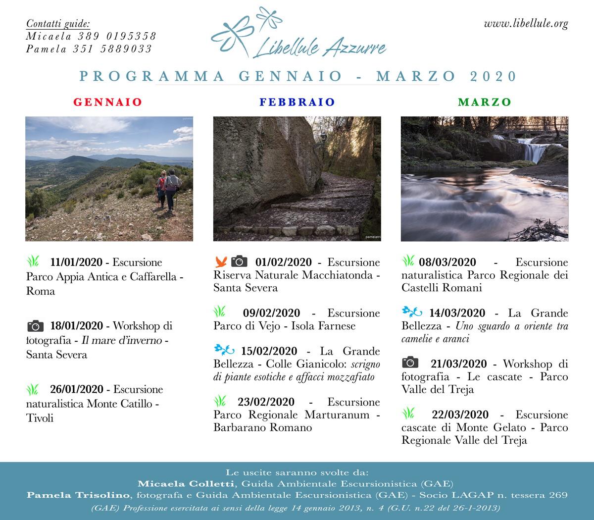 programma escursioni nel Lazio da Gennaio a Marzo 2020