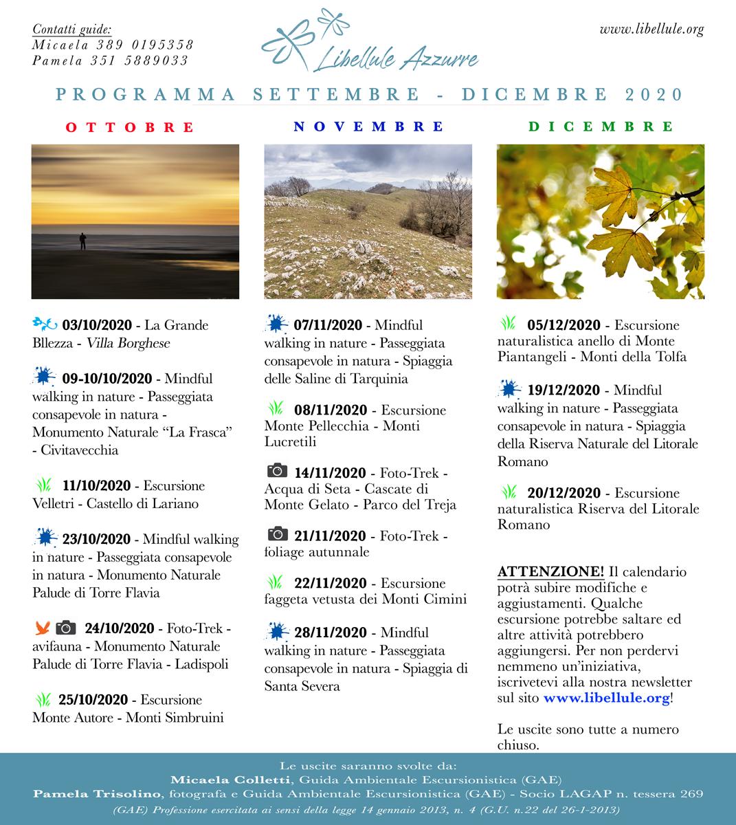 programma escursioni nel Lazio da Settembre a Dicembre 2020